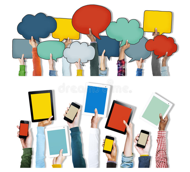 Hands Holding Digital Devices and Speech Bubbles. Group of Hands Holding Digital Devices and Speech Bubbles royalty free illustration