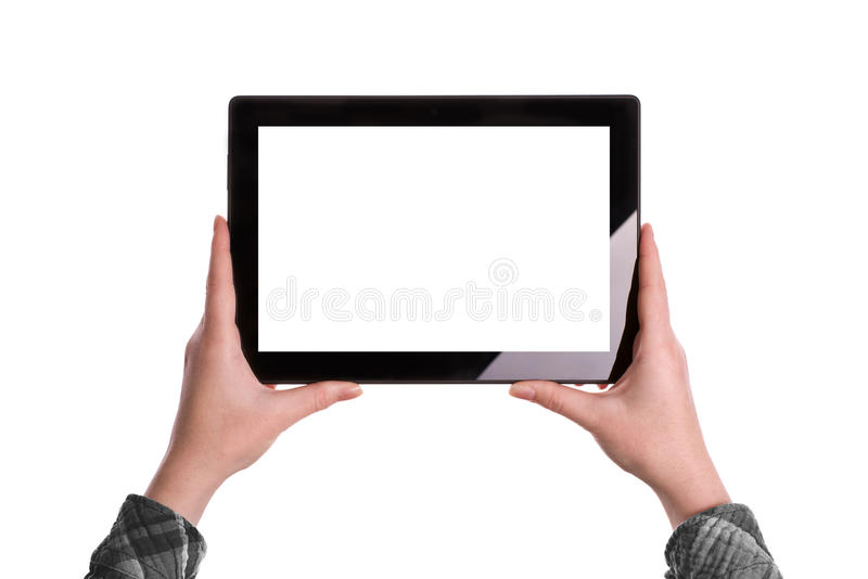 Hands Holding Digital Tablet Computer stock photo