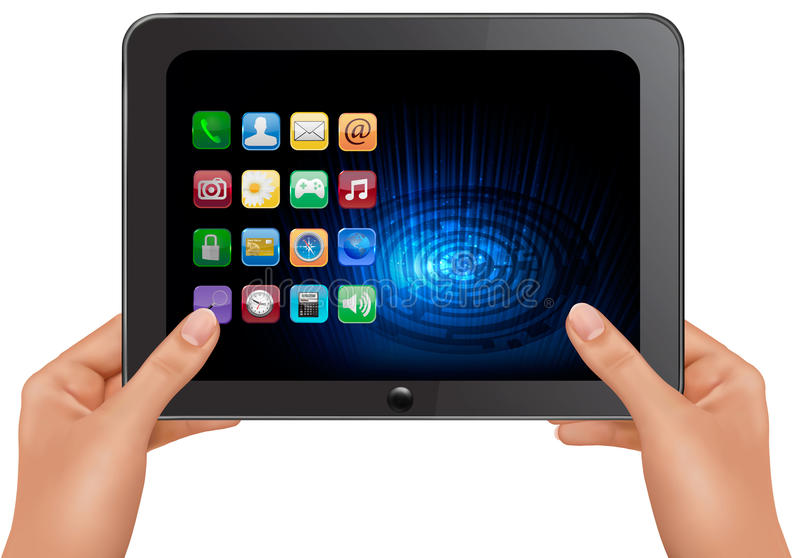 Hands holding digital tablet computer with icons. royalty free illustration