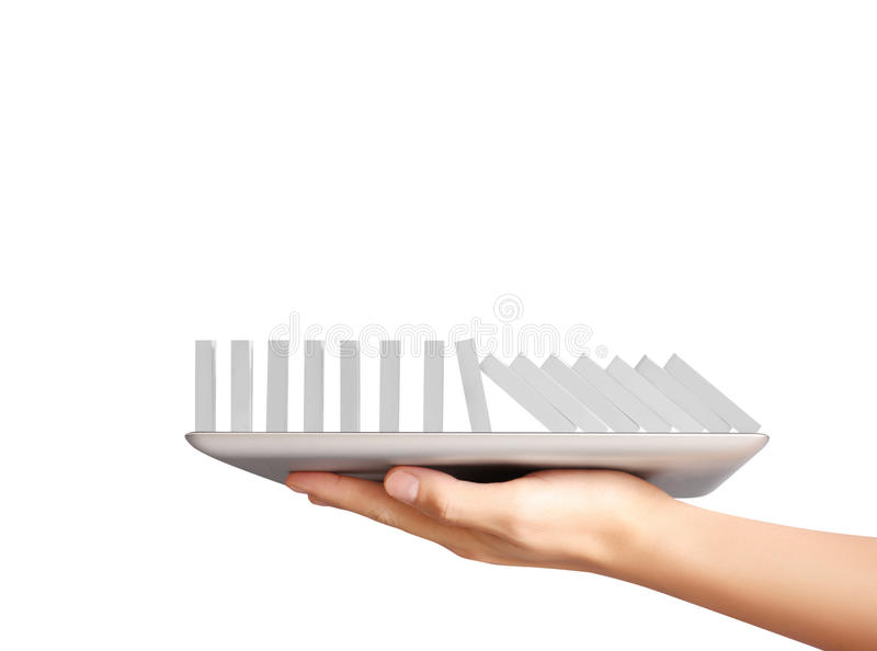 Hands holding digital tablet. Hands holding contemporary digital tablet royalty free stock photos