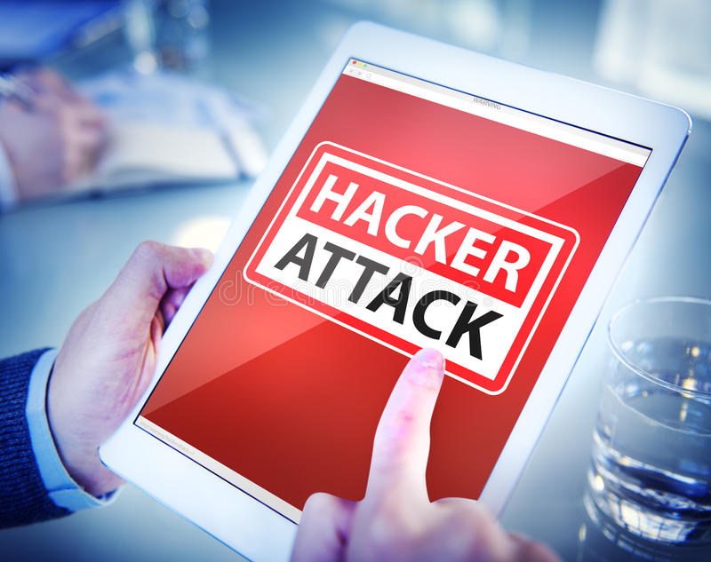 Hands Holding Digital Tablet Hacker Attack royalty free stock photos