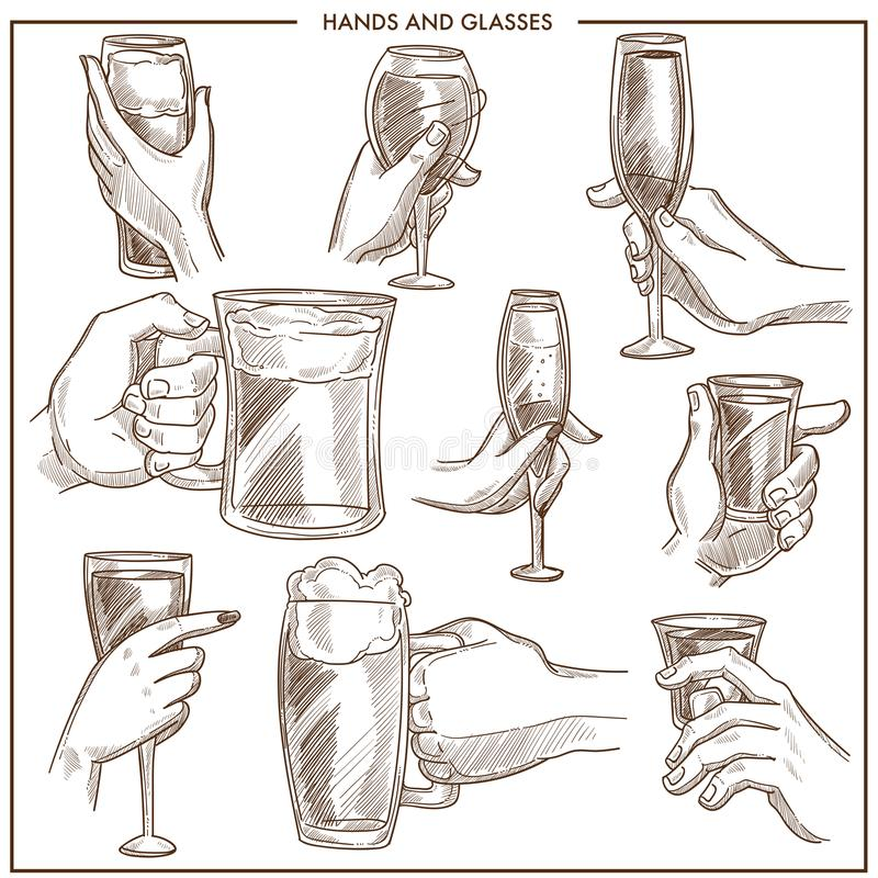 Hands holding drink glasses vector sketch icons of woman and man hand hold beer mug , champagne goblet or wineglass vector illustration