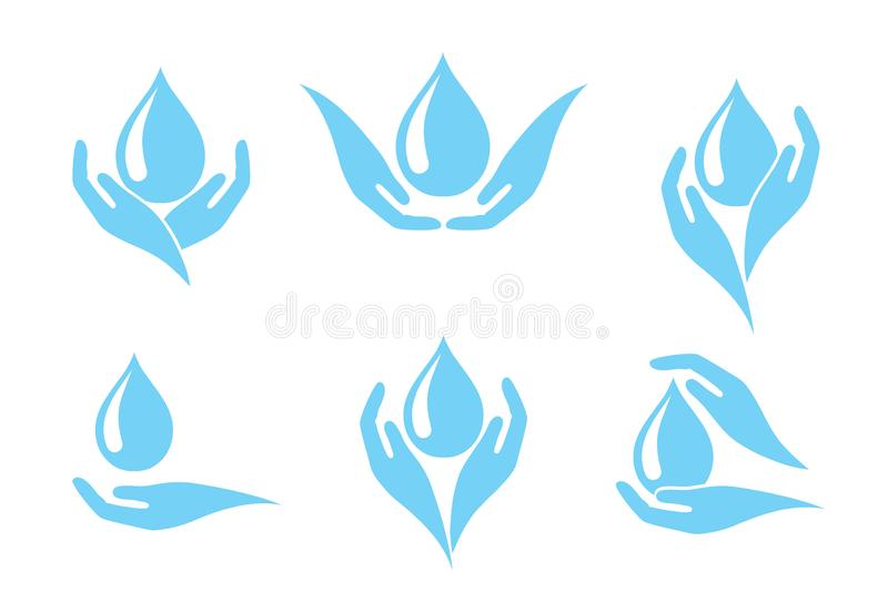 Hands holding a drop of water, icon set, concept of clean water consumption vector illustration