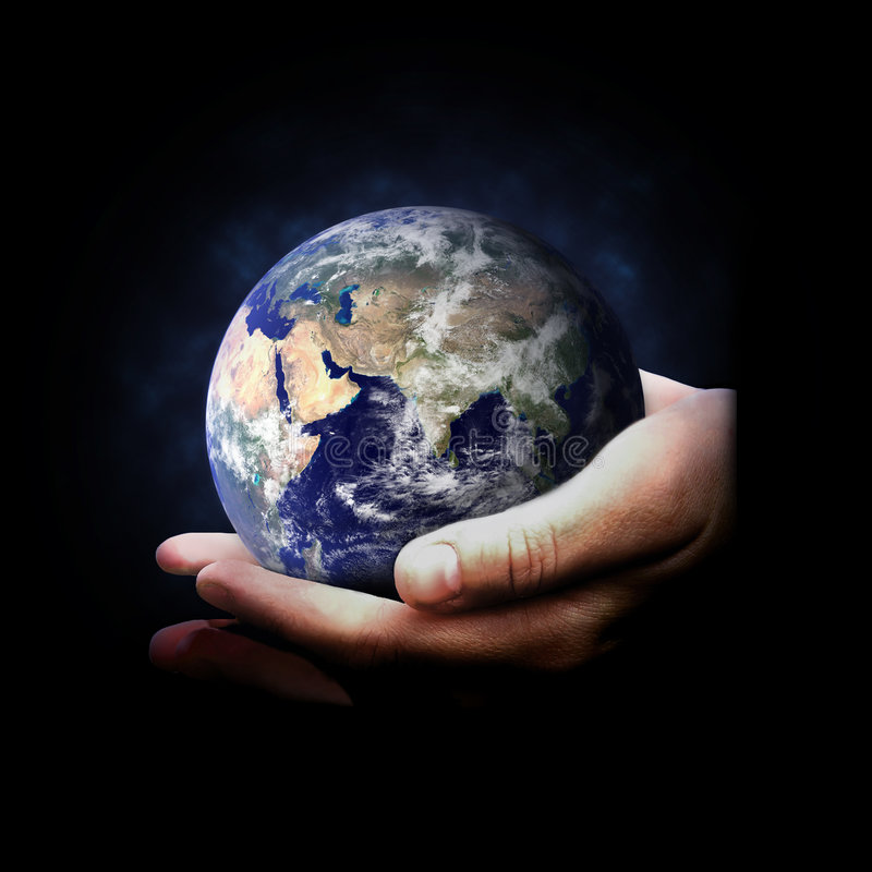 Hands holding earth royalty free stock photo