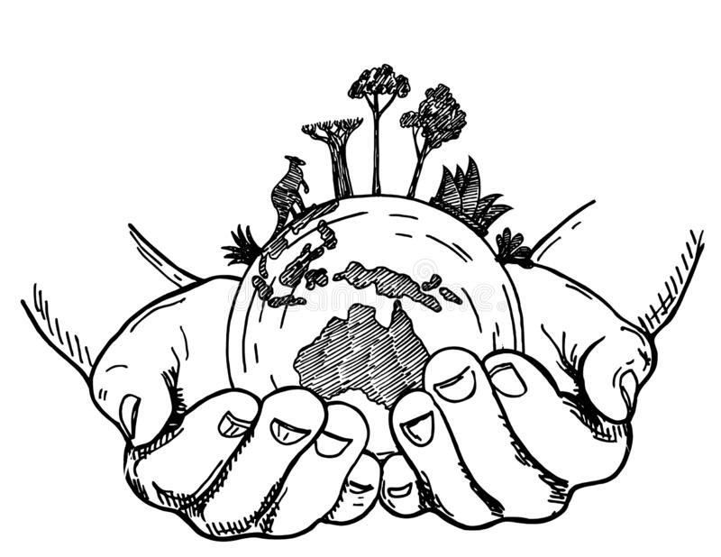 Hands Holding Earth Globe. Earth In Human Hands Isolated On A White  Background, Sketch Style Vector Illustration Stock Vector - Illustration of  care, australia: 178885143