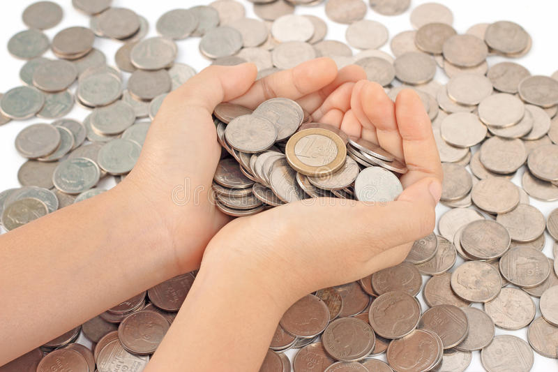 Hands Holding Euro Coins Royalty Free Stock Photography
