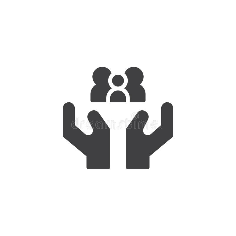 Hands holding family icon vector stock illustration