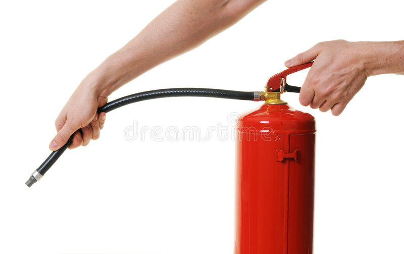 Hands Holding Fire Extinguisher Stock Photo
