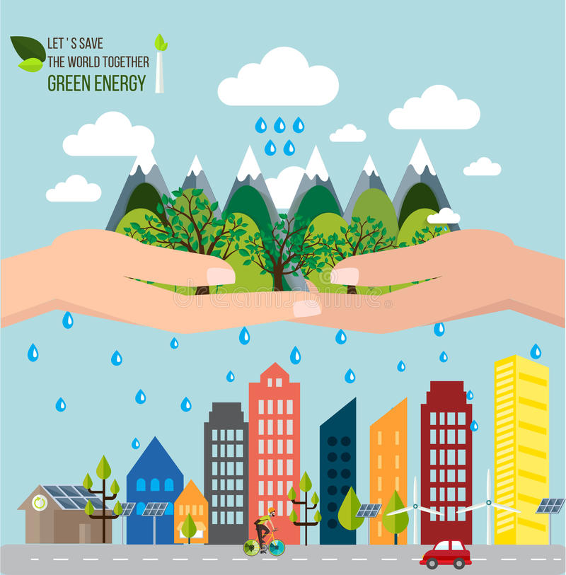 Hands holding forest want to save the world concept. royalty free illustration