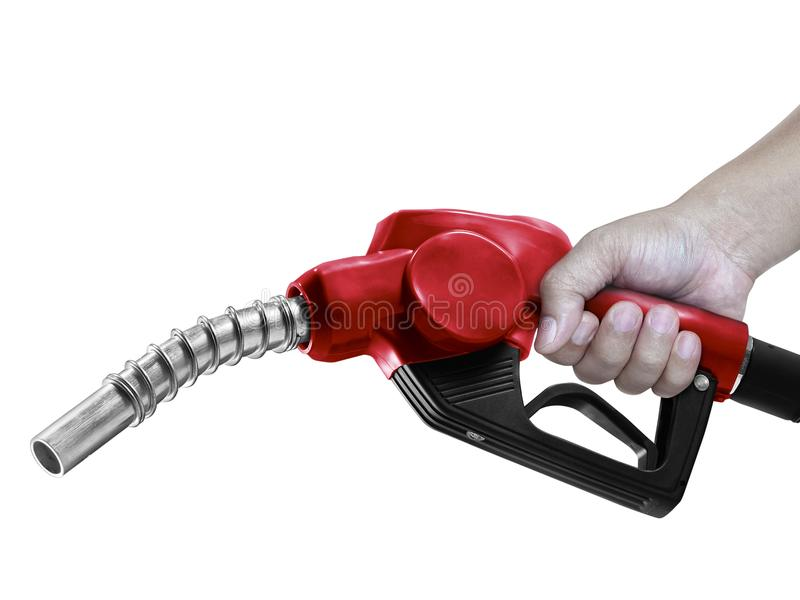 Hands holding Fuel red nozzle with hose isolated on white background. For Your Design royalty free stock photo