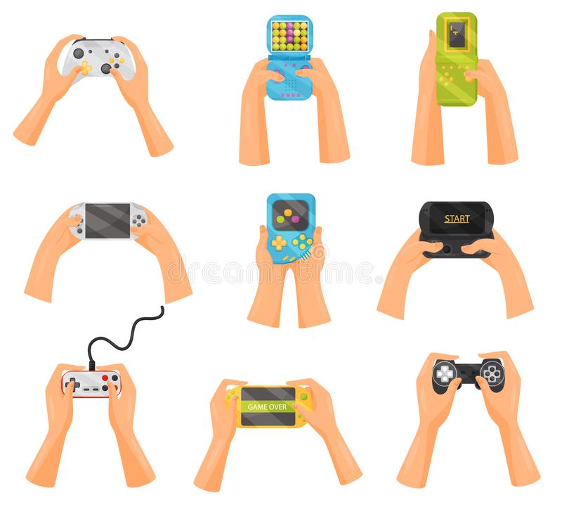 Hands holding gamepads set, retro and modern game gadgets, gaming concept vector Illustration on a white background vector illustration