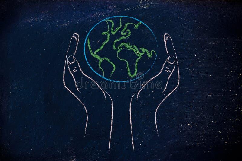 Hands holding globe, concept of green economy stock photo
