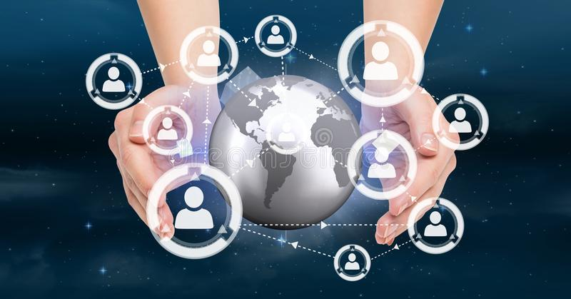 Hands holding a globe with connectors royalty free illustration