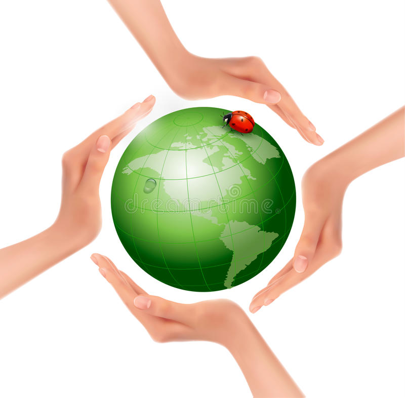 Hands holding a green earth with a ladybug. royalty free illustration