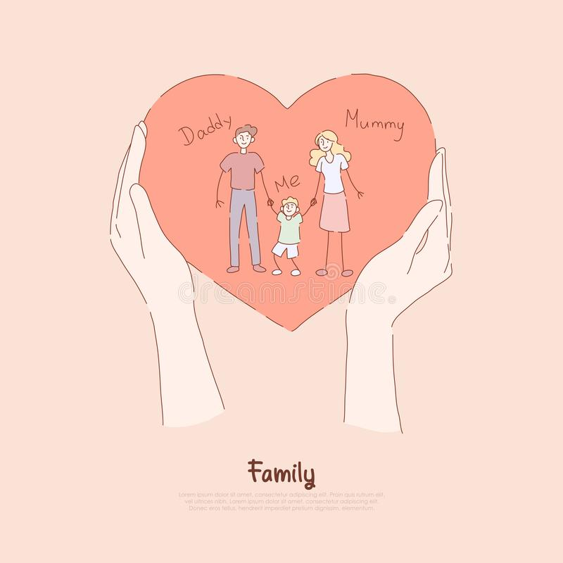 Hands holding greeting card, holiday present, happy couple with little boy, mommy, daddy and son, family love banner vector illustration