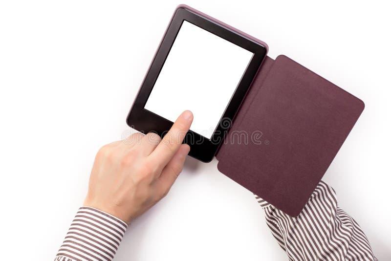 Hands holding hand ereader e-reader royalty free stock photo