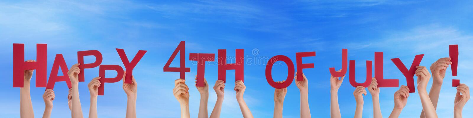 Hands Holding Happy 4th of July in the Sky. Many Hands Holding Happy 4th Of July in the Sky stock image