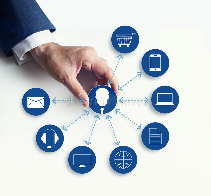 Hands holding icon customer network connection, Omni Channel. Or Multi channel royalty free stock image