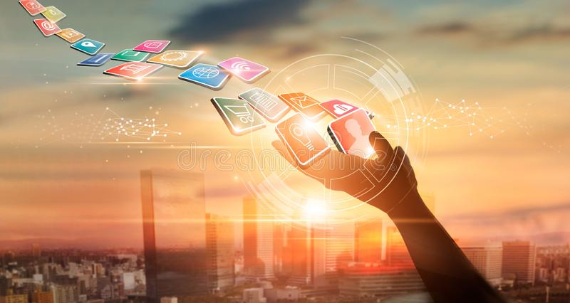 Hands holding icon payments, Digital marketing. Banking network. Online shopping and icon customer network. Ing connection on city sunset background, Business stock image