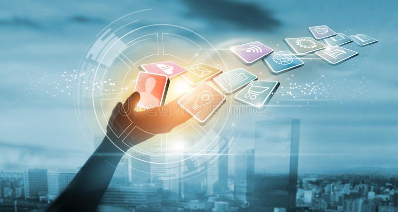 Hands holding icon payments, Digital marketing. Banking network. Online shopping and icon customer networking connection on city. Sunset background, Business royalty free stock photography