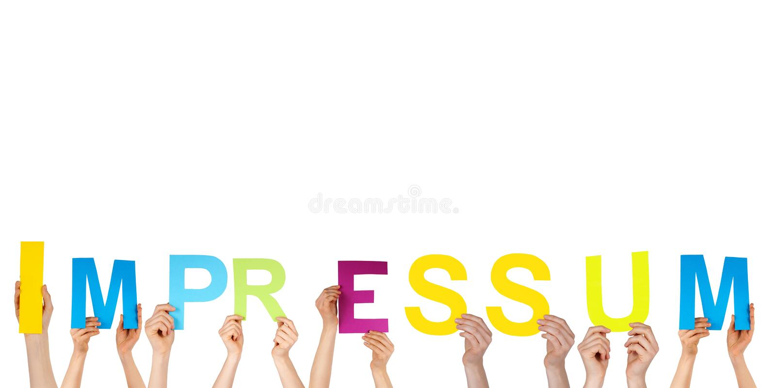 Hands holding impressum royalty free stock photos