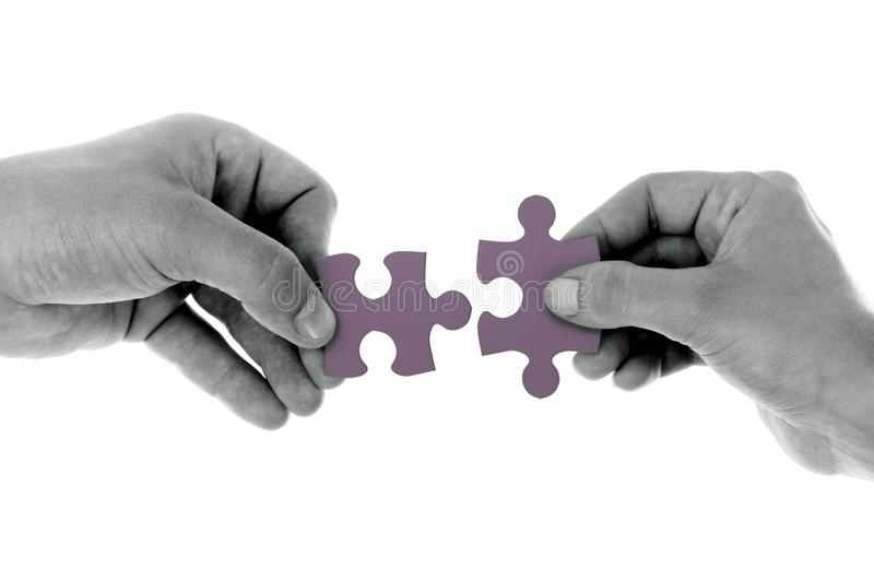 2 Hands Holding 1 Jigsaw Puzzle Piece Each royalty free stock photos