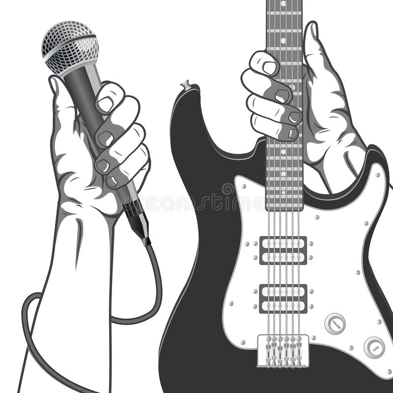 Hands holding a microphone and a guitar. Black and white vintage illustration. royalty free illustration