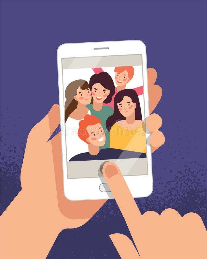 Hands holding mobile phone with happy boys and girls displaying on screen. Friends posing for selfie, group of joyful. People photographing themselves. Flat vector illustration