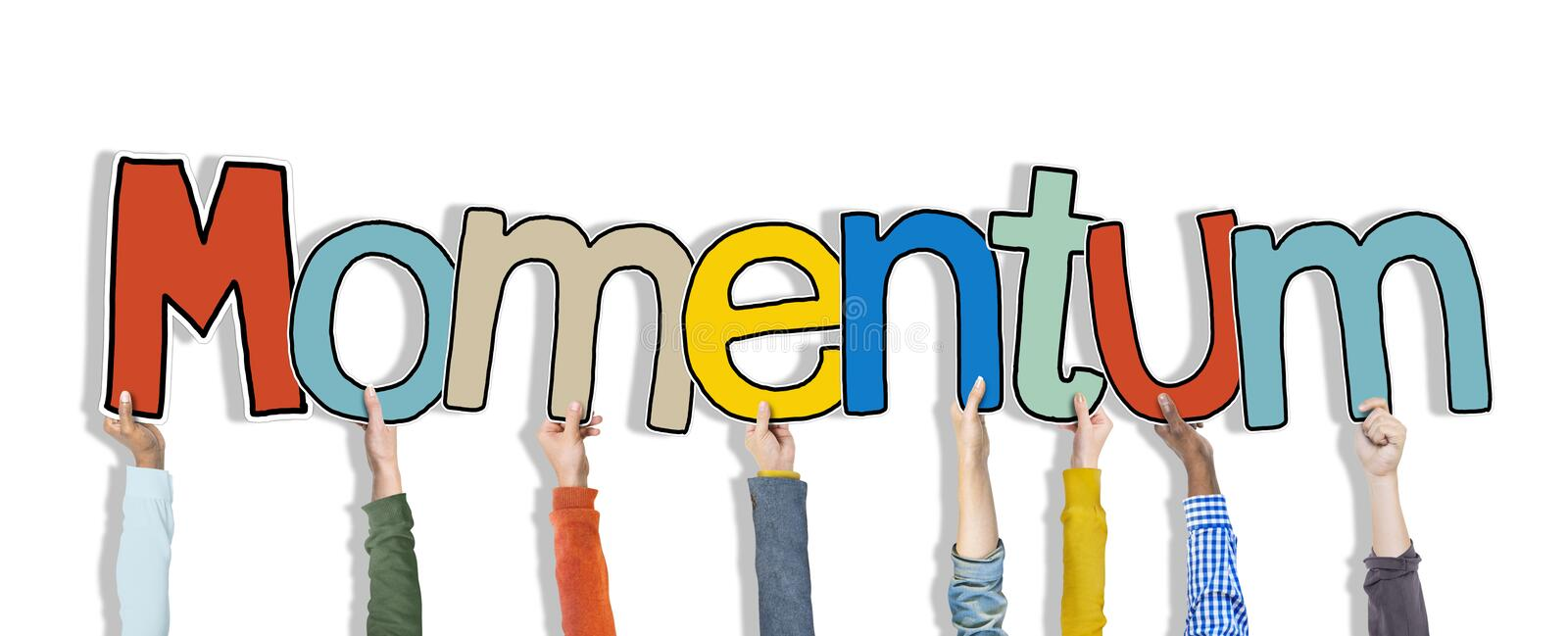 Hands Holding Momentum Word Concepts stock photos