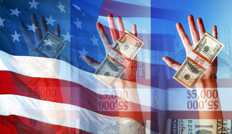 Hands Holding Money and The American Flag - Symbols and Concepts vector illustration