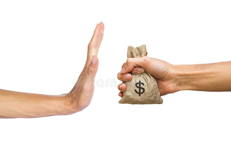 A hands holding money bag and rejecting hand to receive money of royalty free stock photo