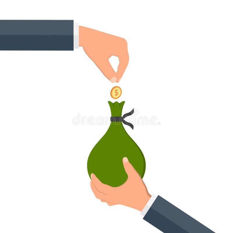 Hands holding money bag. stock illustration
