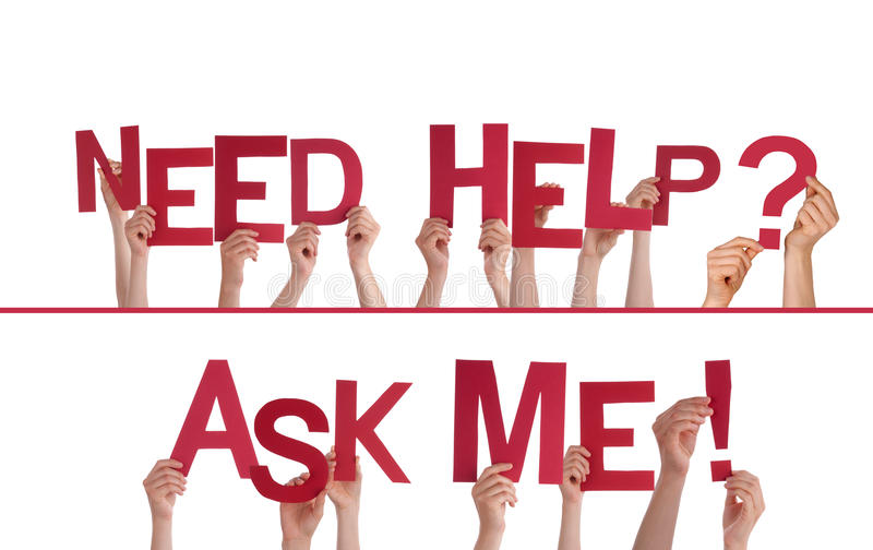 Hands Holding Need Help, Ask Me royalty free stock photos