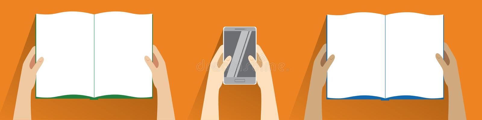 Hands holding open book and smartphone. Top view. vector illustration