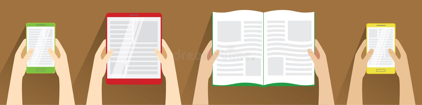 Hands holding open book, smartphones and tablet computer. Top view. royalty free illustration