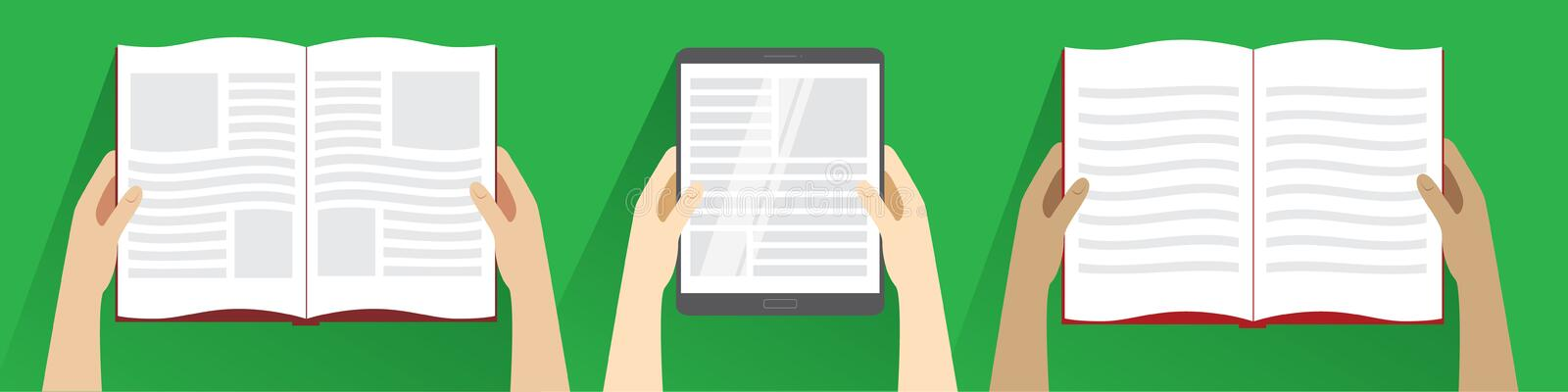 Hands holding open book and tablet computer. Top view. royalty free illustration