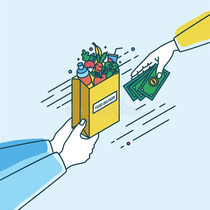 Hands holding paper bag with fruits and vegetables and passing money. Concept of order or purchase in online grocery stock illustration