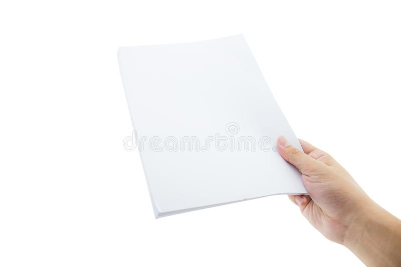 Hands holding paper blank a4 size for letter paper. The hands holding paper blank a4 size for letter paper stock images