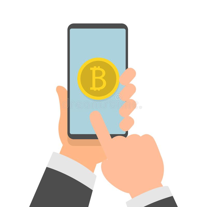 Hands holding phone with bitcoin icon on screen royalty free illustration