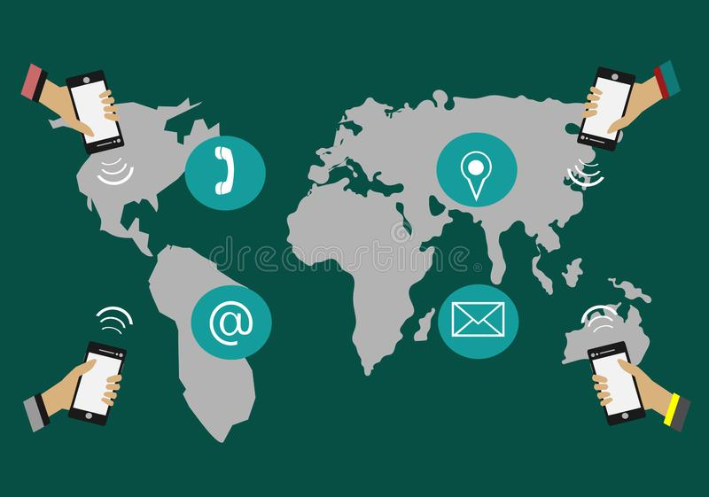 Hands holding phone Communicate around the world. Have a map in the background royalty free illustration