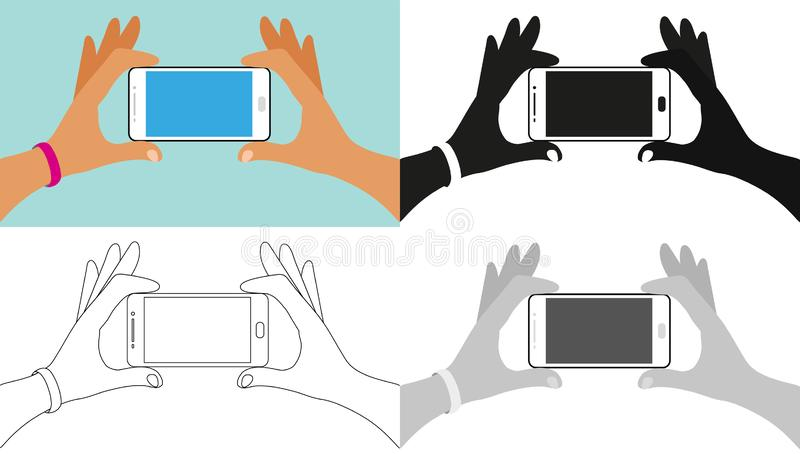 Hands holding the phone, icon set, full color, outline, silhouette, grayscale. Element for instruction, concept for vector illustration