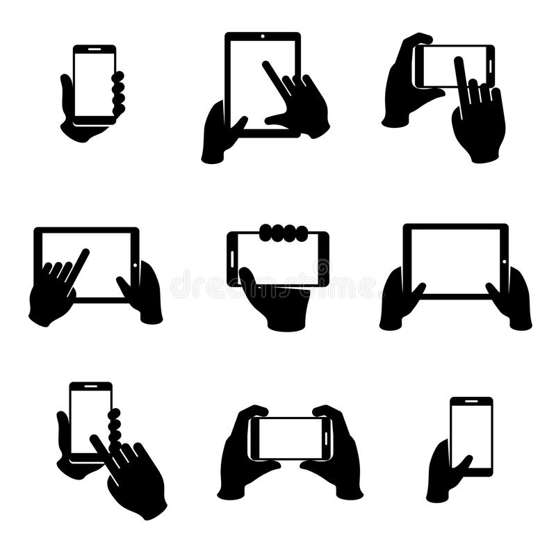 Hands holding phone and tablet vector icons set. Tablet monochrome, communication phone, click smartphone, gesture finger. Vector illustration stock illustration