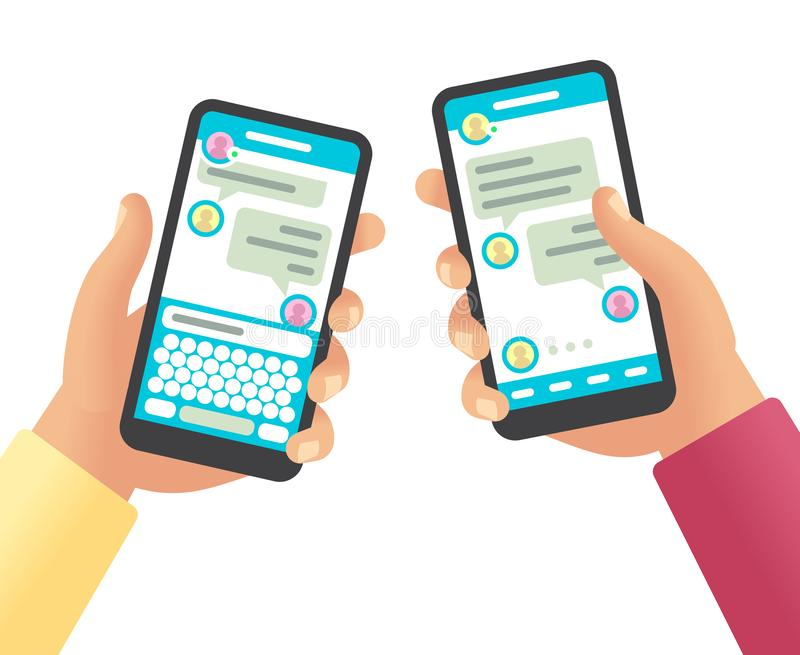 Hands holding phones with message. Social networking communication, touch screen smartphone app with online chat cartoon vector illustration