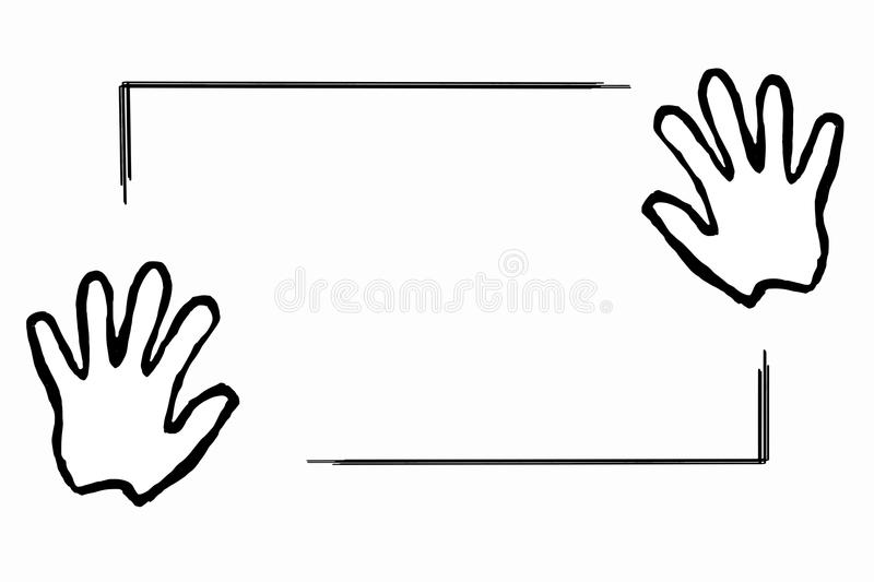 Hands holding a piece of paper flat design. stock illustration