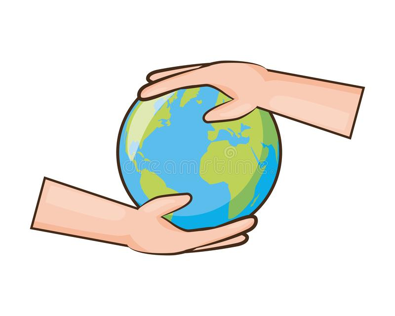 Earth day card. Hands holding planet earth day card vector illustration royalty free illustration