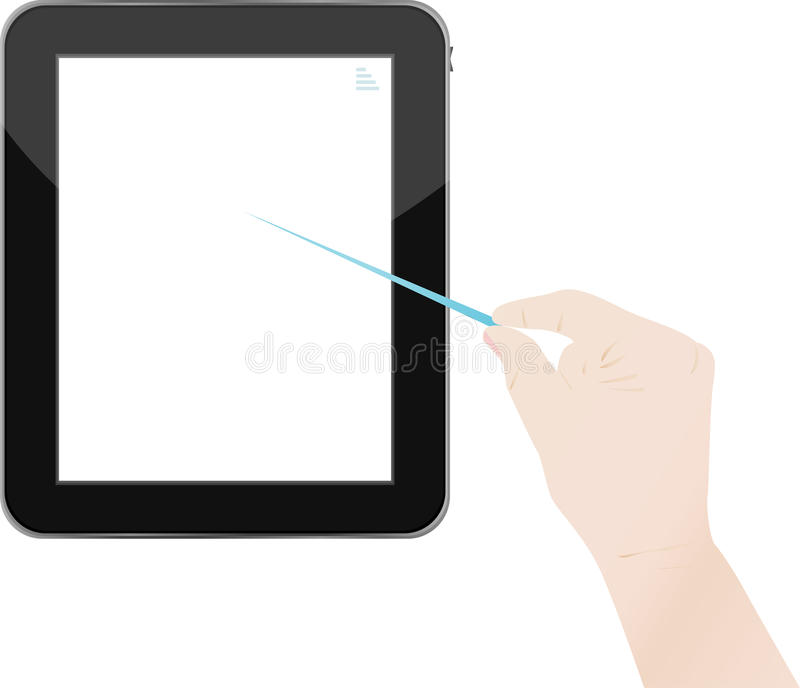 Download Hands Holding And Point On Digital Tablet Stock Vector - Illustration of business, communication: 23896115