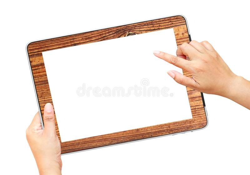 Hands holding and point on tablet PC. Isolated on white stock photos