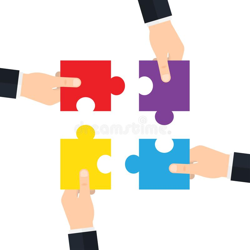 Hands holding and putting puzzle pieces together. vector illustration