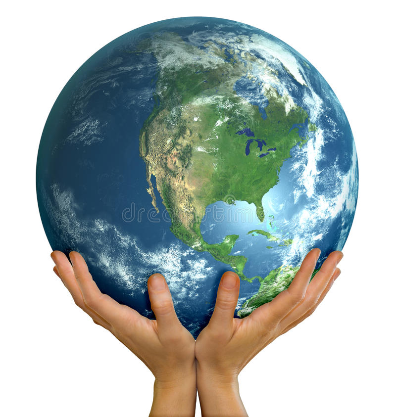 Download Hands Holding Realistic Globe Facing North America Royalty Free Stock Photos - Image: 18480458