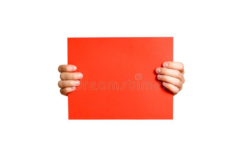 Hands holding a red clean blank sheet of A4. Isolated on white b. Ackground stock image